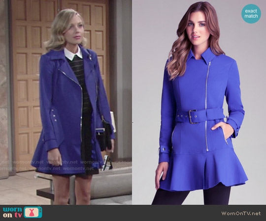 Bebe Flare Skirt Trench Jacket worn by Melissa Ordway on The Young & the Restless