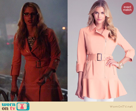 Bebe Flare Trench Coat in Peach Bloom worn by Emily Bett Rickards on The Flash