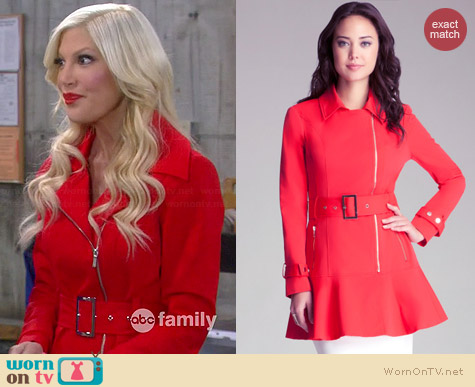 Bebe Flare Trench Coat worn by Tori Spelling on Mystery Girls