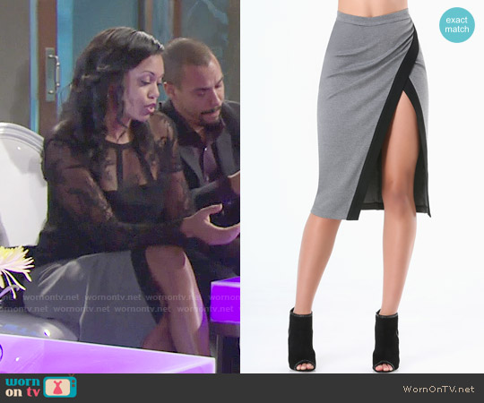 Bebe Heathered Colorblock Skirt worn by Hilary Curtis on The Young & the Restless