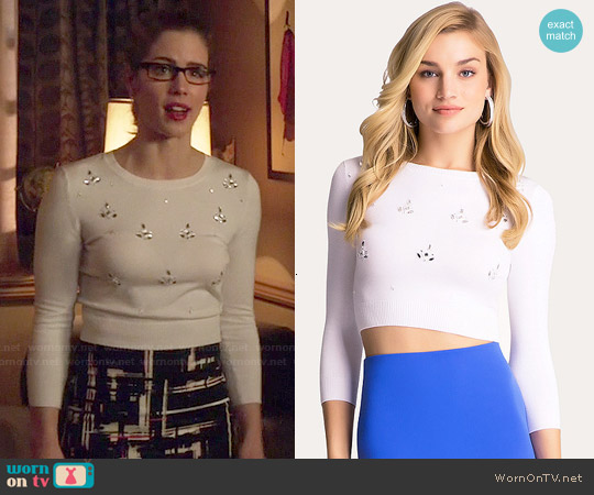 Bebe Jeweled 3/4 Sleeve Sweater worn by Emily Bett Rickards on Arrow