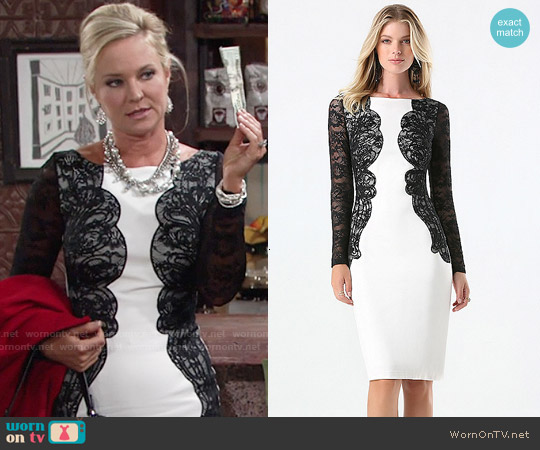 Bebe Lace Detail Ponte Dress worn by Sharon Case on The Young & the Restless