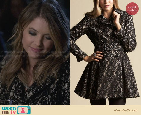 Bebe Lace Overlay Coat worn by Ashley Benson on PLL