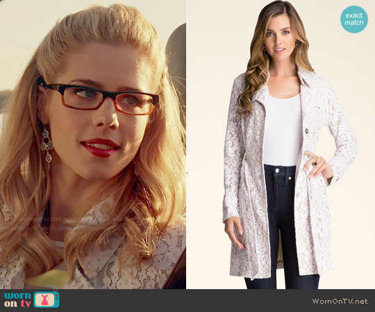 Bebe Lace Trench Coat worn by Emily Bett Rickards on Arrow