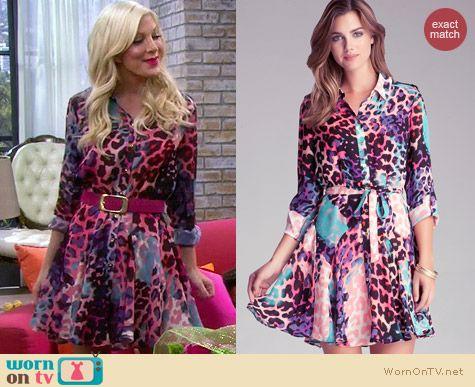 Bebe Leopard Shirt Dress worn by Tori Spelling on Mystery Girls