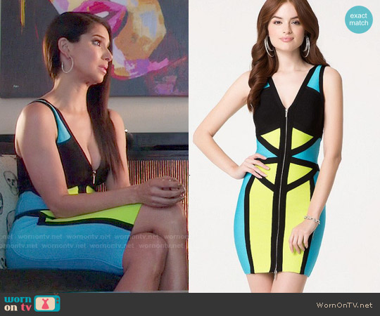 Bebe Lila Colorblock Dress worn by Roselyn Sanchez on Devious Maids