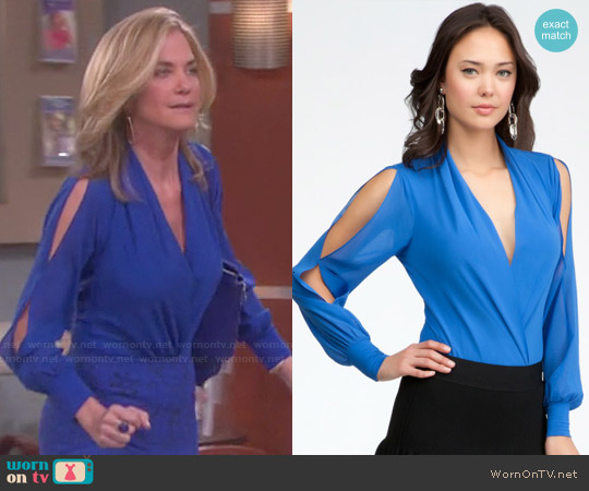Bebe Long Sleeve Wrap Bodysuit worn by Kassie DePaiva on Days of our Lives