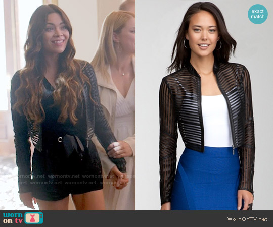 Bebe Mini Striped Leather Jacket worn by Nora on The Vampire Diaries
