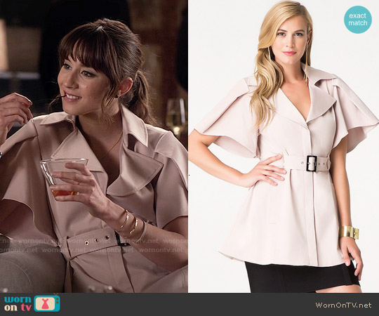 Bebe Nancy Flutter Sleeve Coat worn by Troian Bellisario on PLL