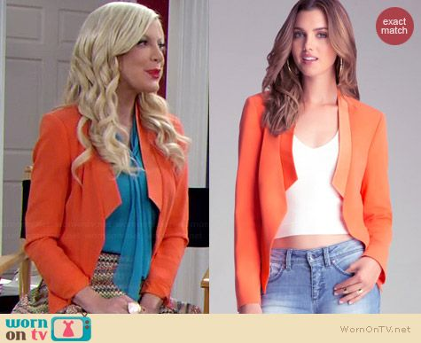 Bebe Drape Front Blazer in Tigerlily worn by Tori Spelling on Mystery Girls