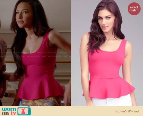 Bebe Pink Peplum Tank worn by Naya Rivera on Glee