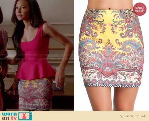 Bebe Printed Scuba Mini Skirt in Deja Vu Paisley worn by Naya Rivera on Glee