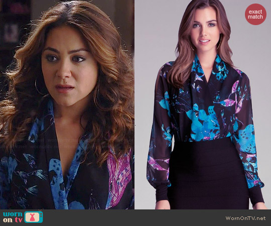 Bebe Printed Wrap Bodysuit worn by Camille Gauty on Happyland
