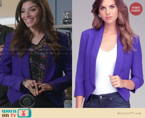 Bebe Purple Shawl Collar Cropped Jacket worn by Amanda Setton on The Crazy Ones
