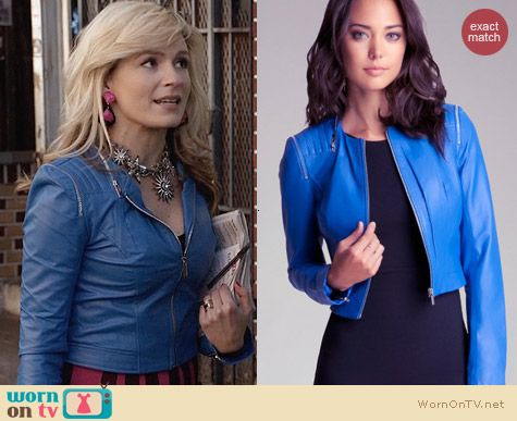 Bebe Blue Quilted Zipper Leather Jacket worn by Lindsey Gort on The Carrie Diaries