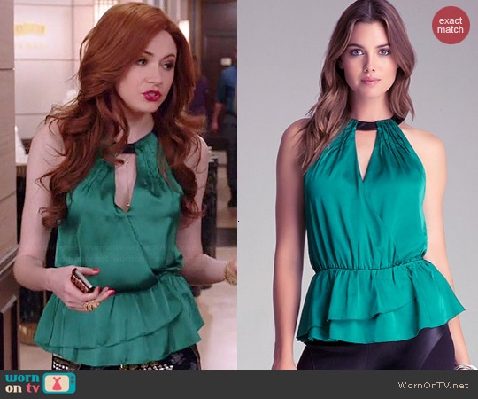 Bebe Ruffle Hem Halter top worn by Karen Gillan on Selfie