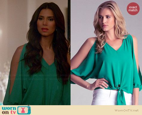 Bebe Tie Front Slit Sleeve Top worn by Roselyn Sanchez on Devious Maids