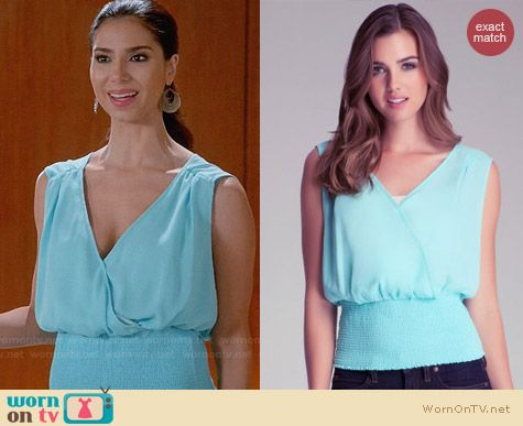 Bebe Smocked Sleeveless Surplice Top worn by Roselyn Sanchez on Devious Maids