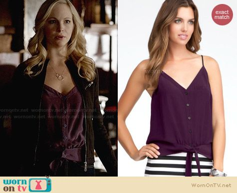 Bebe Solid Tie Hem Cami worn by Candice Accola on The Vampire Diaries