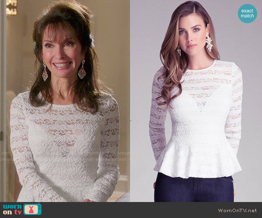 Bebe Striped Lace Peplum Top worn by Susan Lucci on Devious Maids