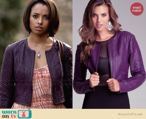 Bebe Striped Leather Jacket in Purple worn by Kat Graham on The Vampire Diaries