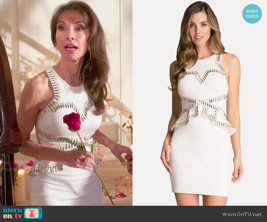 Bebe Studded Ponte Peplum Dress worn by Susan Lucci on Devious Maids