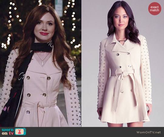 Bebe Studded Sleeve Flared Trench Coat worn by Karen Gillan on Selfie