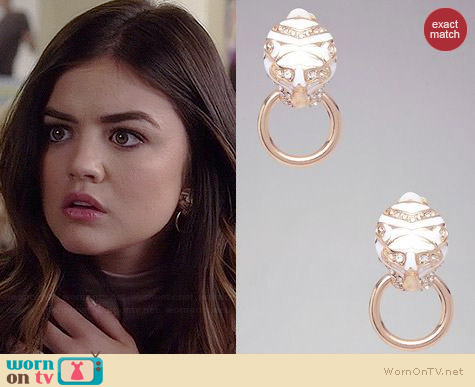 Bebe Tiger Door Knocker Earrings worn by Lucy Hale on PLL