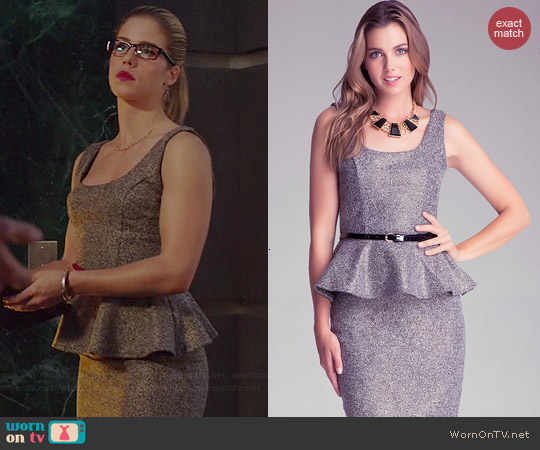 Bebe Tweed Peplum Top and Midi Skirt worn by Emily Bett Rickards on Arrow