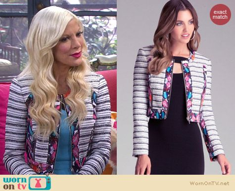 Bebe Tweed Print Jacket worn by Tori Spelling on Mystery Girls
