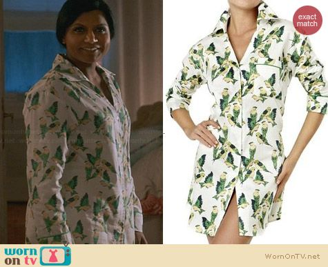 Bedhead Green Cabana Birds Nightshirt worn by Mindy Kaling on The Mindy Project