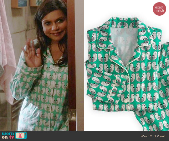 BedHead Barn Owl PJ Set worn by Mindy Kaling on The Mindy Project