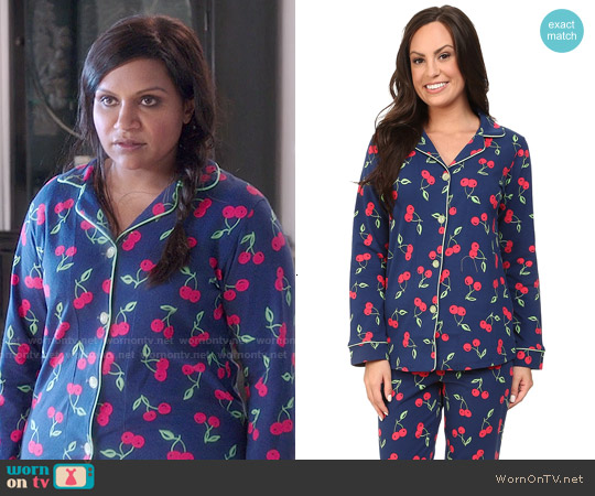 BedHead Classic PJ Set in Navy Cherry Pick worn by Mindy Kaling on The Mindy Project