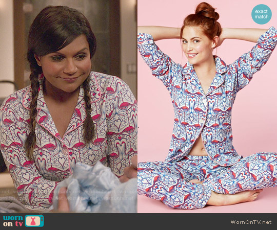 BedHead Classic Pajamas in Coral Flamingos worn by Mindy Kaling on The Mindy Project
