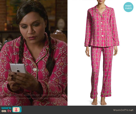 Bedhead Magenta Royal Foulard Pajama Set worn by Mindy Kaling on The Mindy Project