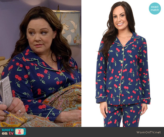 BedHead Classic PJ Set in Navy Cherry Pick worn by Melissa McCarthy on Mike & Molly