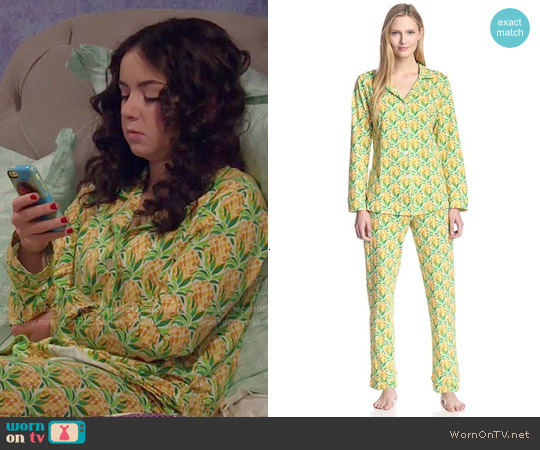 BedHead Classic Pajama Set in Pineapples worn by Sarah Gilman on IDDI