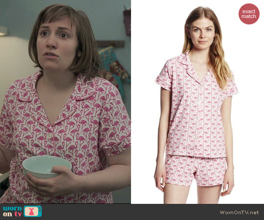 BedHead Pink Flamingo Shorty Pajama Set worn by Lena Dunham on Girls