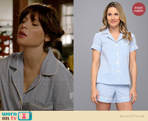 Bedhead Shorty Pajama Set in Blue Gingham worn by Zooey Deschanel on New Girl