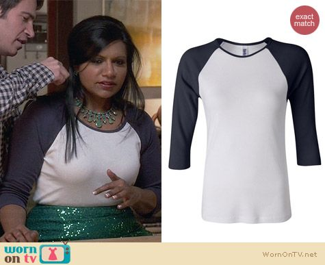 Bella 3/4 Sleeve Baseball Top worn by Mindy Kaling on The Mindy Project