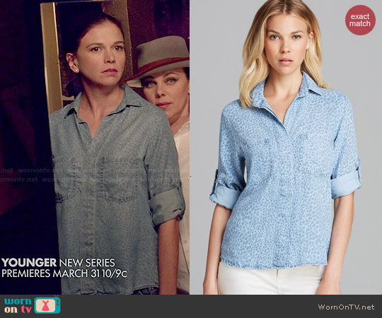Bella Dahl Cheetah Chambray Button Down Shirt worn by Sutton Foster on Younger