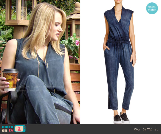 Bella Dahl Cross Front Jumpsuit worn by Hunter King on The Young & the Restless