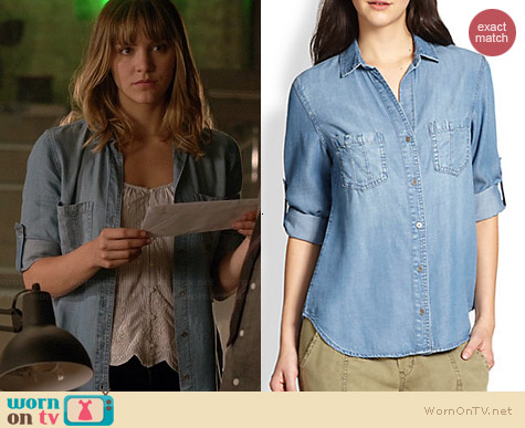 Bella Dahl Denim Seamed Pocket Shirt worn by Katharine McPhee on Scorpion