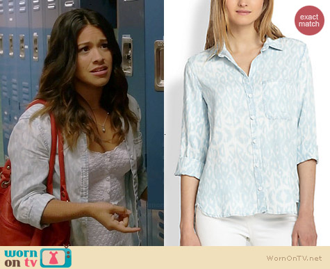 Bella Dahl Leopard Ikat Shirt worn by Gina Rodriguez on Jane the Virgin
