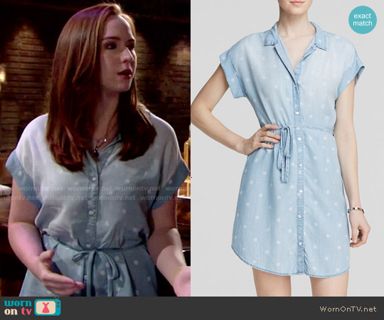Bella Dahl Chambray Polka Dot Shirt Dress worn by Camryn Grimes on The Young & the Restless