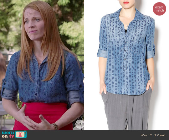 Bella Dahl Two Tone Print Shirt worn by Katie Leclerc on Switched at Birth
