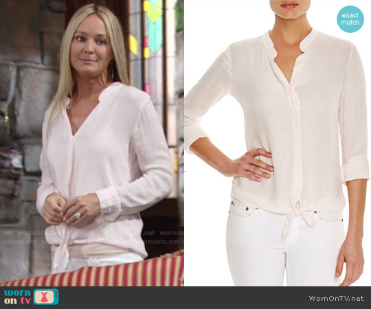 Bella Dahl Tie Waist Shirt in Petal Pink worn by Sharon Case on The Young & the Restless