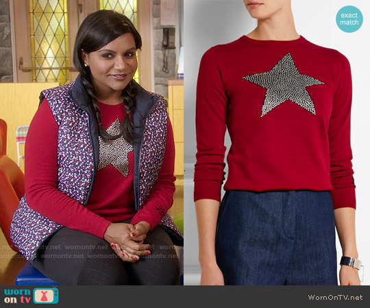 Bella Freud Star Studded Intarsia Merino Wool Sweater worn by Mindy Kaling on The Mindy Project
