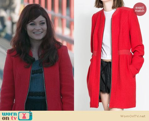 Belle Fashion: Zara Red Wool Coat worn on OUAT