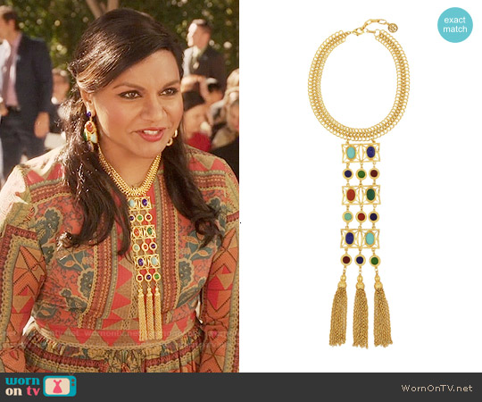Ben Amun Gold Tone Cabochon Necklace worn by Mindy Kaling on The Mindy Project
